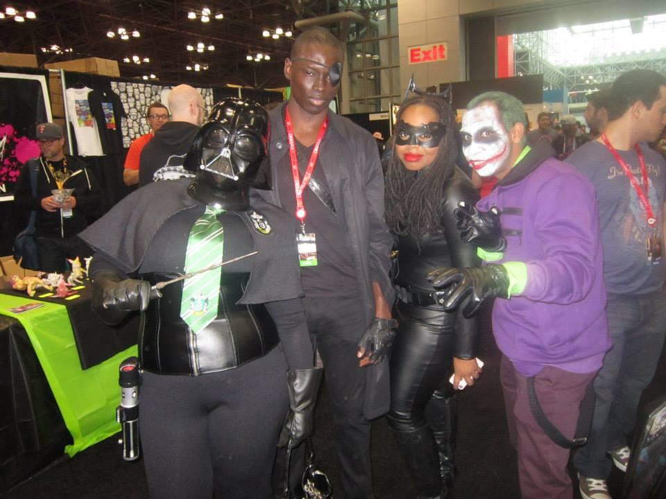 Akua as Darth Vader/Slytherin Student, Kimani as Nick Fury, Me as Catwoman, and Dane as The Joker