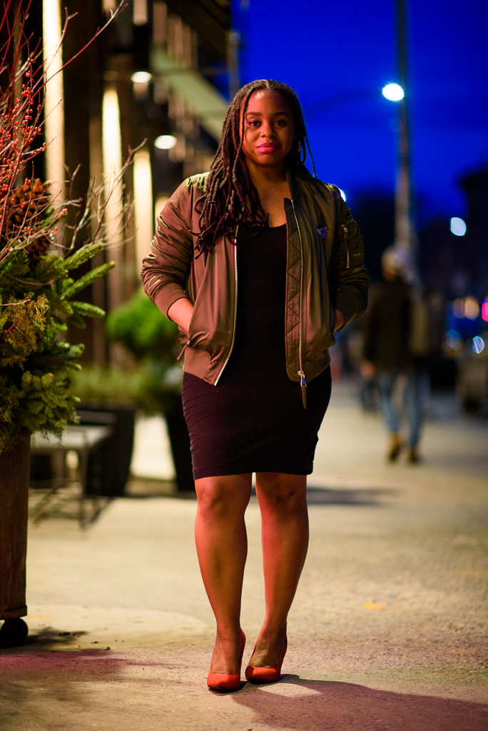 Jacket:  Topshop , Dress:  T by Alexander Wang , Shoes:  Steve Madden