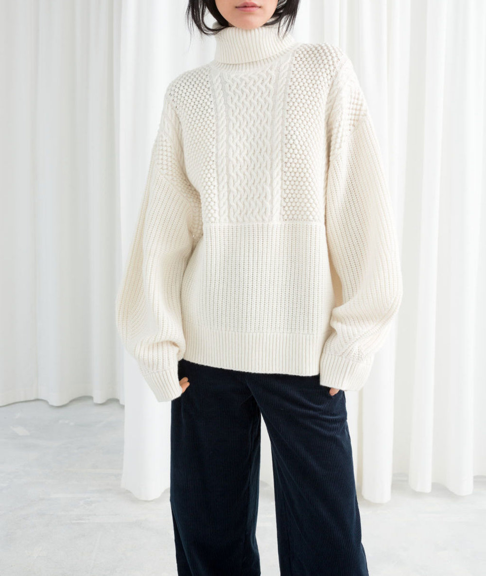 Oversized Cable Knit Turtleneck-& Other Stories
