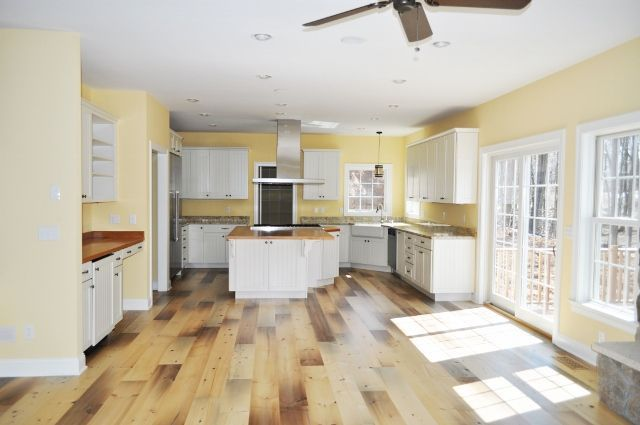 "8"" pine floor and oak countertop - new construction in Connecticut"