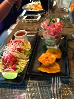 Tuna tacos and raw tuna with ginger/coconut magic.