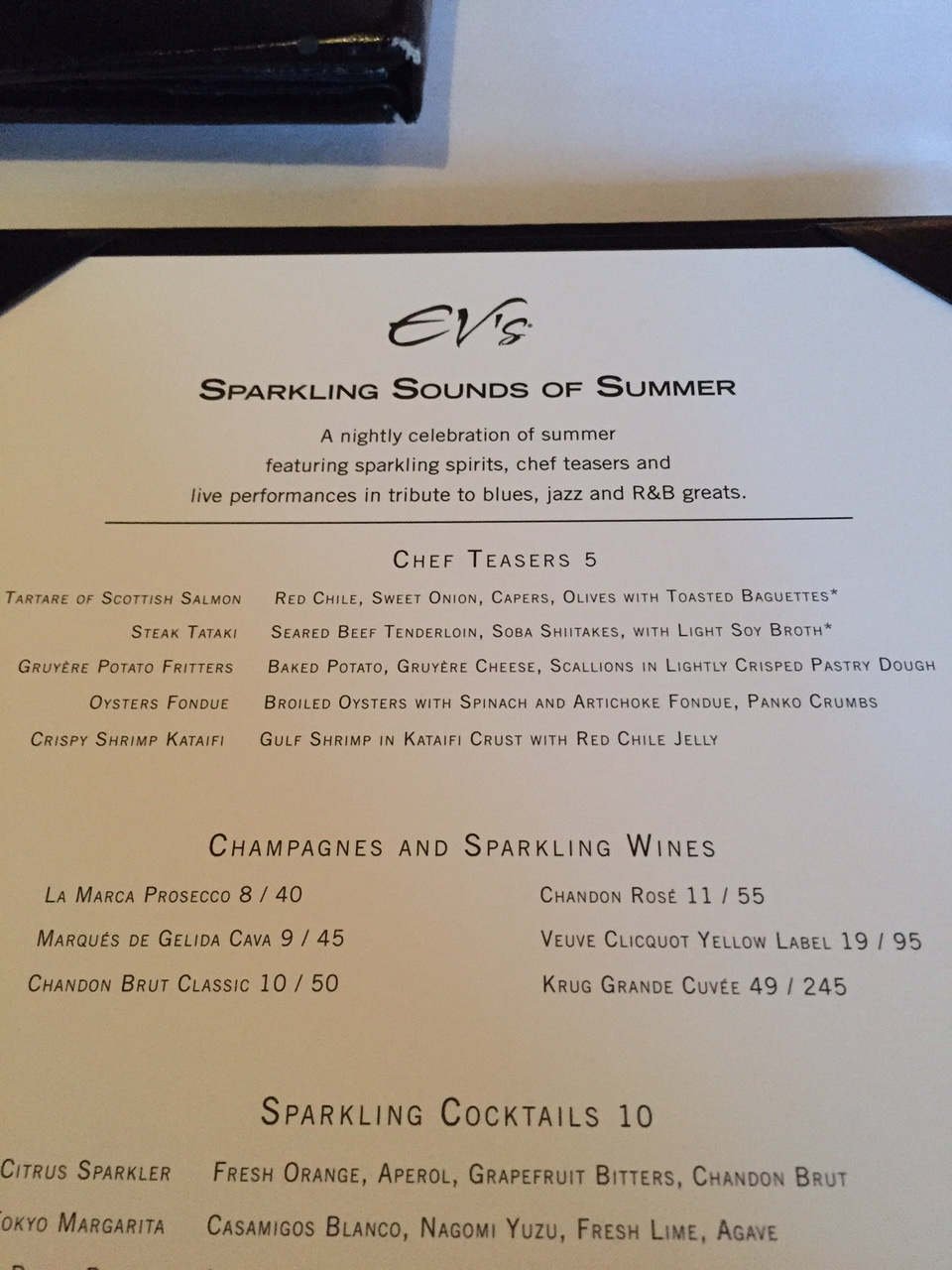Eddie V's Sparkling Sounds of Summer Menu 1
