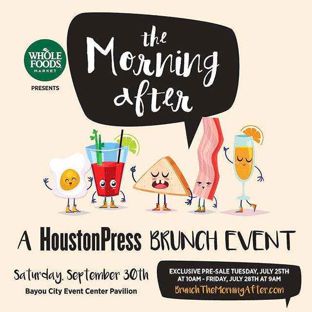 TICKET GIVEAWAY!! I'm giving away 2 tickets to @houstonpress Morning After Brunch event THIS SATURDAY! Come eat, drink and be merry! I'll announce the winner on Wednesday!  How to win: Like this post, follow @thesizzlehouston , like our Facebook page and leave a comment on this post!