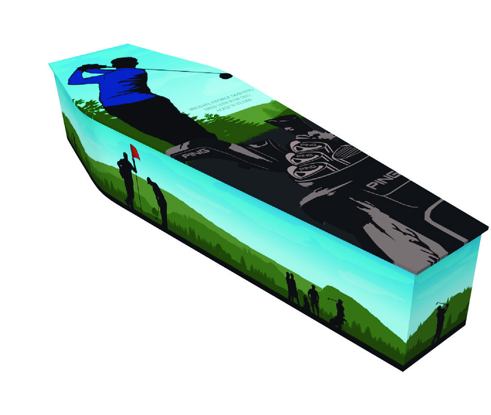 cardboard coffins Our cardboard coffins are made from recyclable cardboard where at all is possible. They are made here in the uk and as well as the examples on the next page we can create a personalised coffin with any image as well.