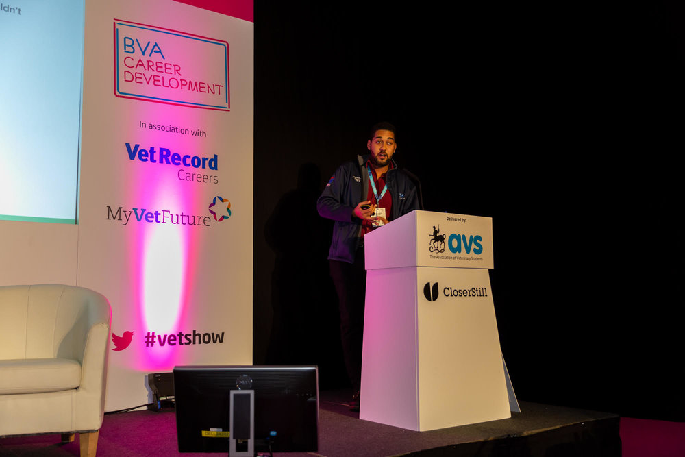 David Charles (AVS President 2018-2019( presenting at the London Vet Show