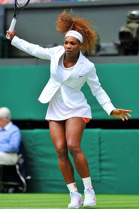Sheer sophistication in a white warm-up blazer by Nike on the Lawns of Wimbledon