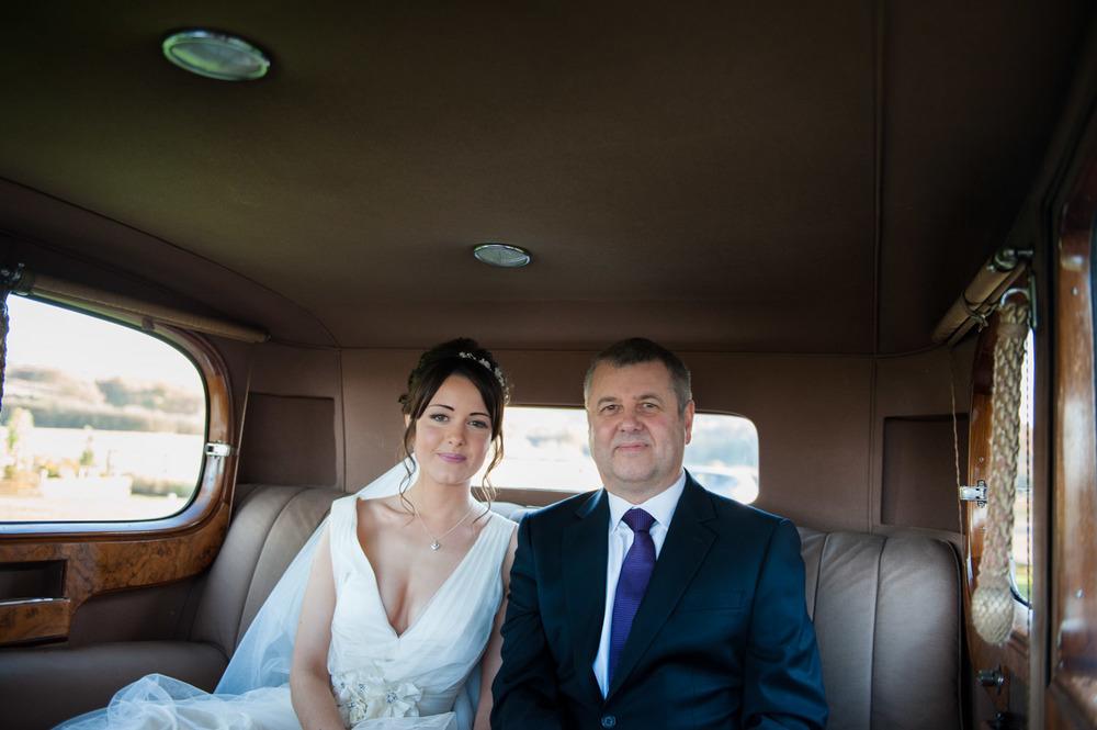 bride arriving at Swancar Farm wedding
