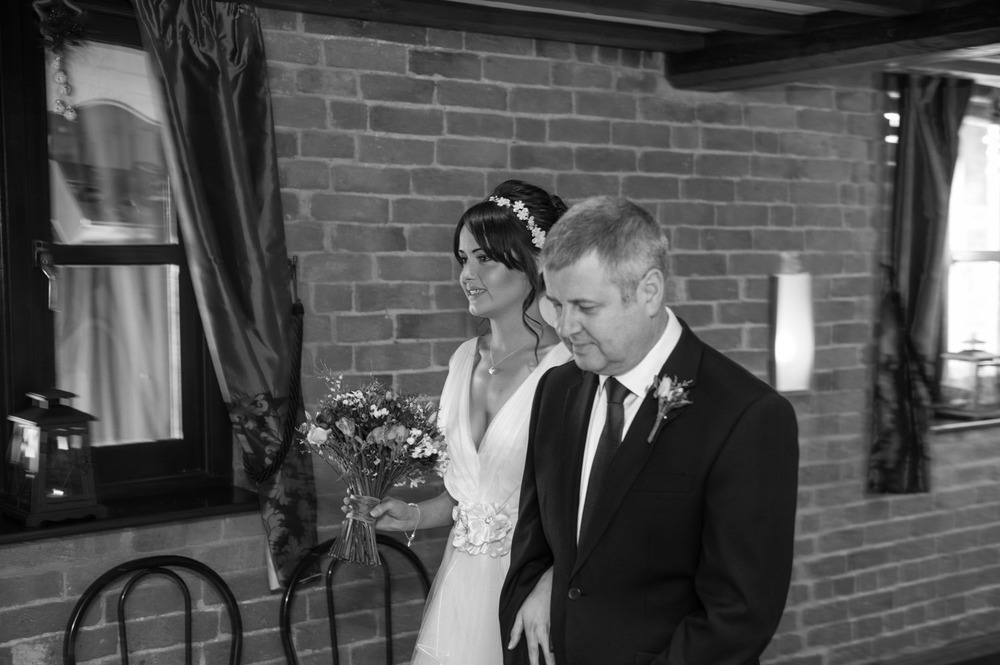 Bride and her father at Swancar Farm wedding