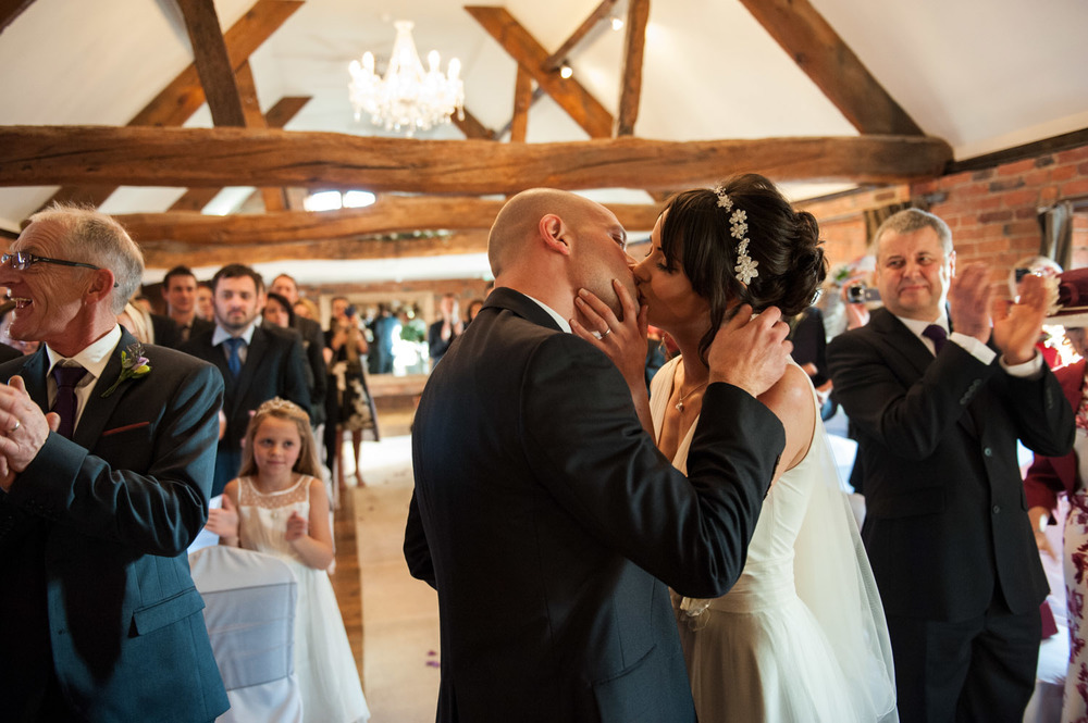 Wedding ceremony at Swancar Farm wedding