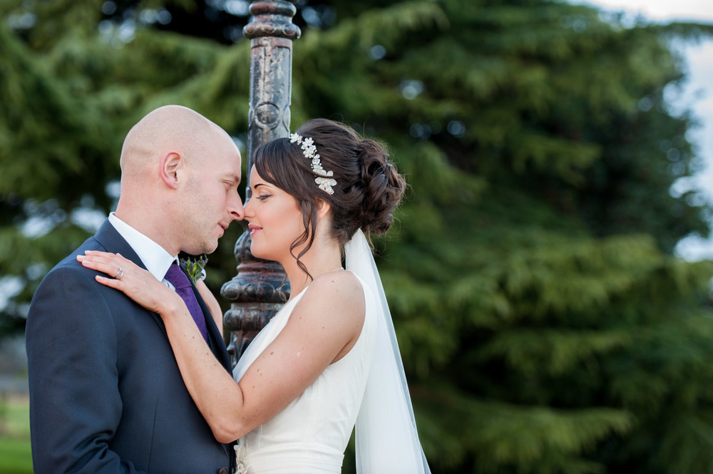 Portrait of the bride and groom at Swancar Farm wedding