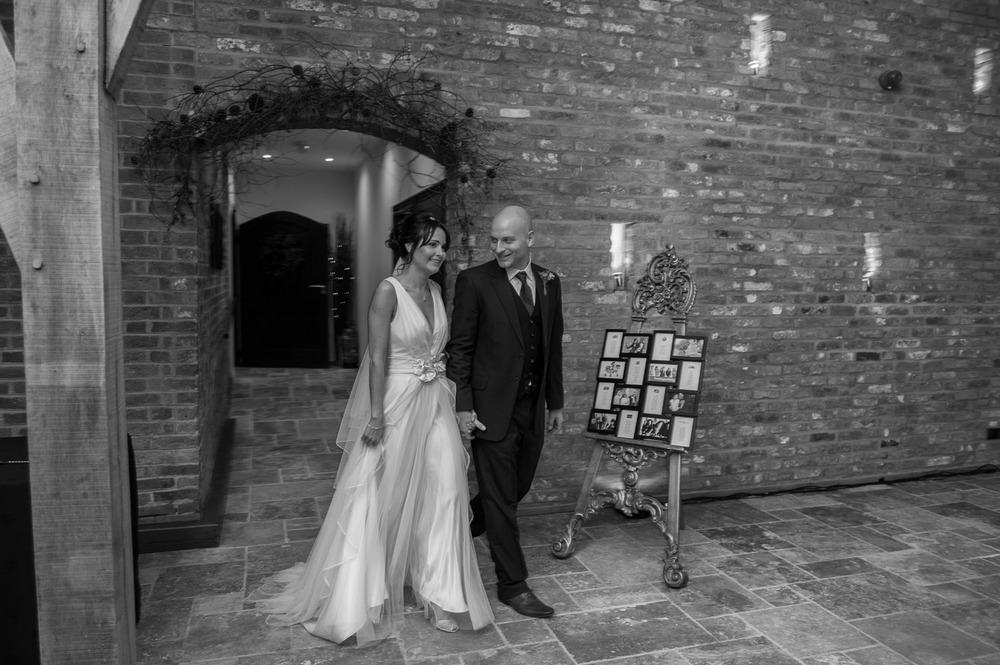 bride and groom at Swancar farm winter wedding