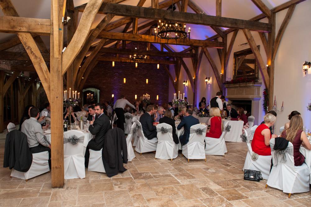 The great hall at Swancar Farm winter wedding
