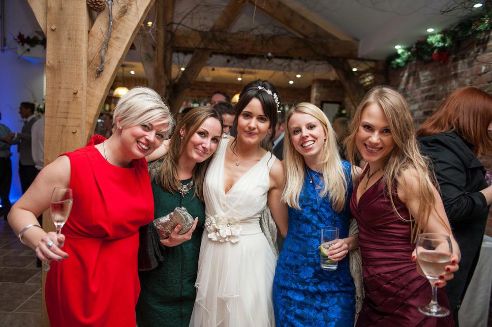 bride and friends at Swancar Far winter wedding