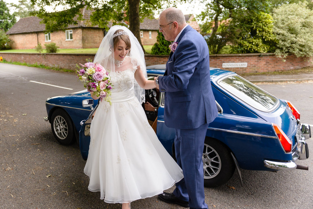 Bride and father at Langar Hall wedding