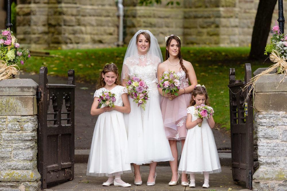Bride and bridesmaids at Langar Hall wedding