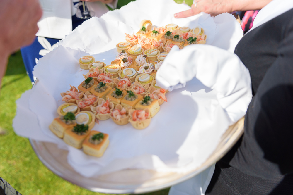 wedding canapes at hassop hall