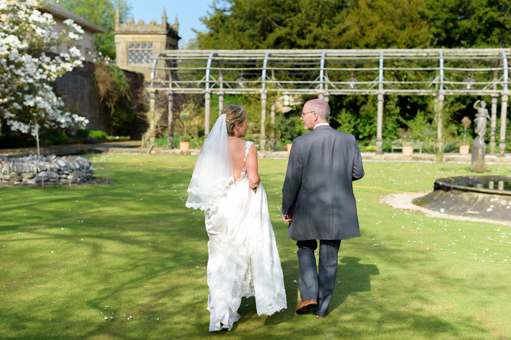 bride and groom at hassop hall wedding