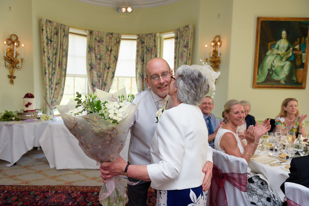exchanging gifts at hassop hall wedding