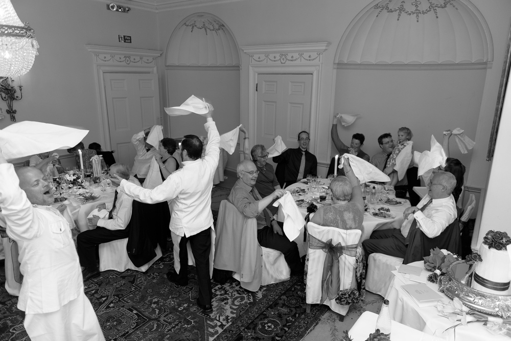 singing waiters at hassop hall wedding