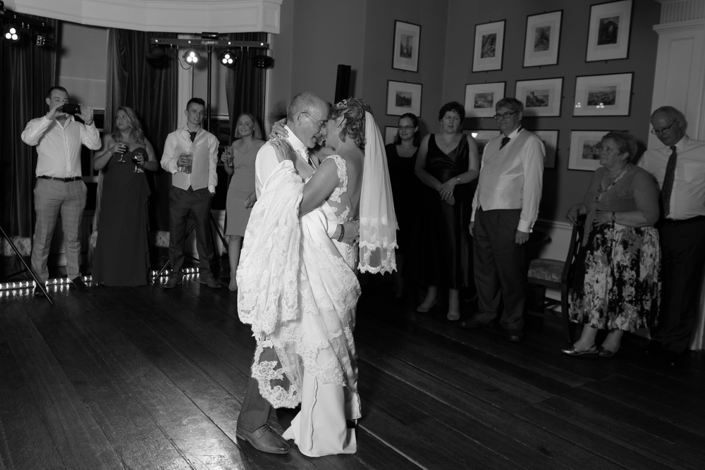 bride and groom first dance at hassop hall
