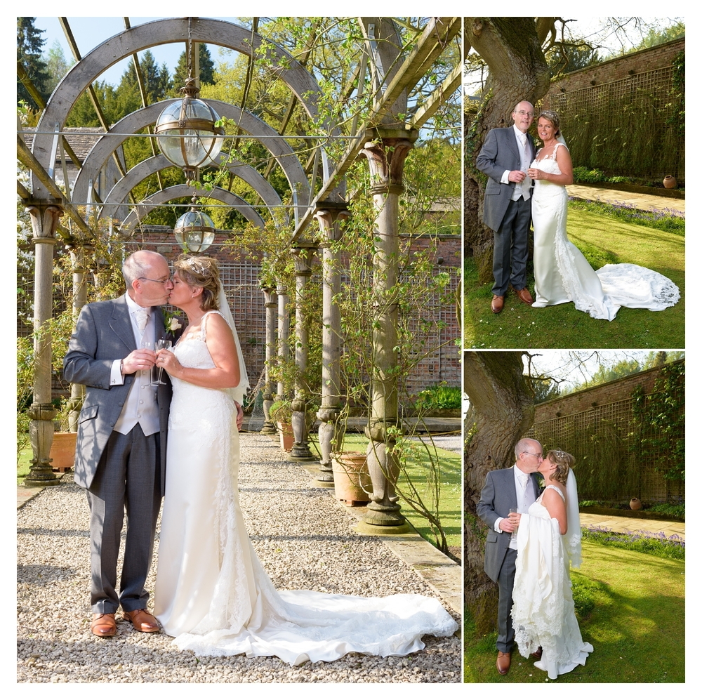 bride and grrom portrait at hassop hall wedding