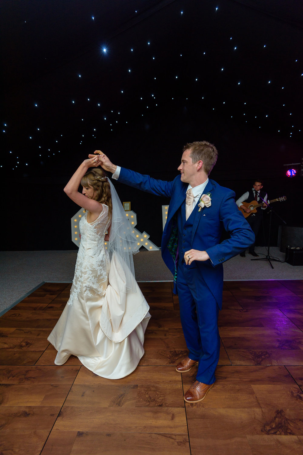 Bride dancing at Callow Hall wedding