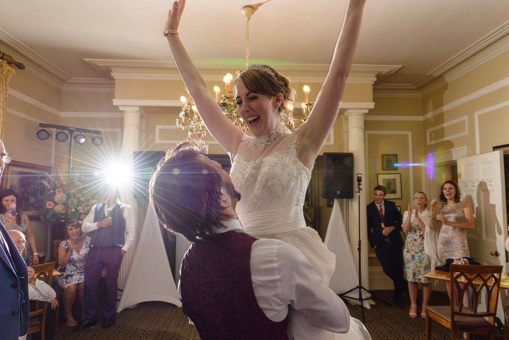 Bride and groom first dance at Langar Hall wedding