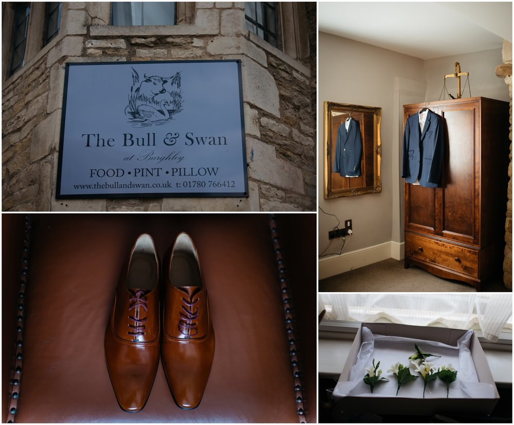 Groom prep at the bull and Swan in Stamford