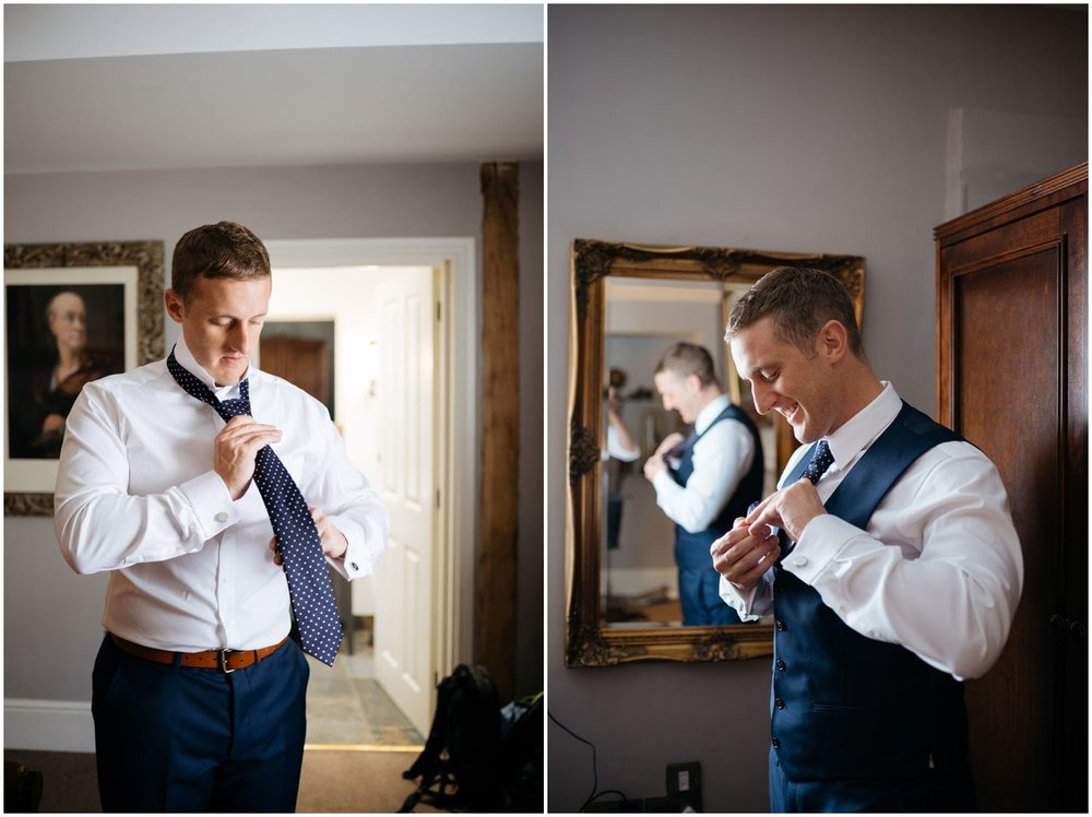 Groom getting ready at the Bull and Swan for his wedding