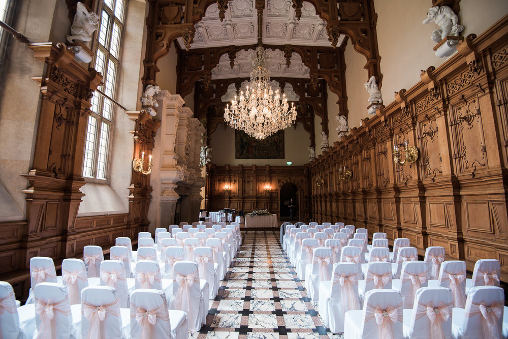 Wedding ceremony at Harlaxton Manor