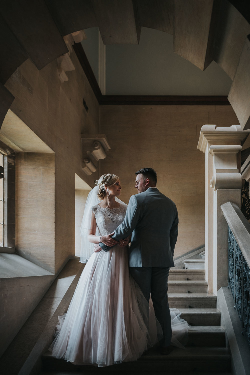 Bride and groom at Harlaxton Manor wedding