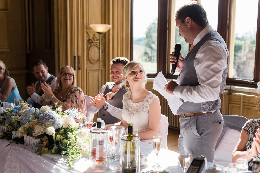 wedding speech at Harlaxton Manor