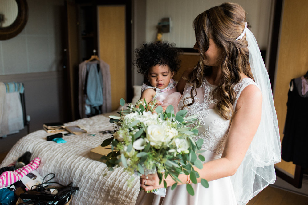 Bride and daughter at  The West Mill Wedding