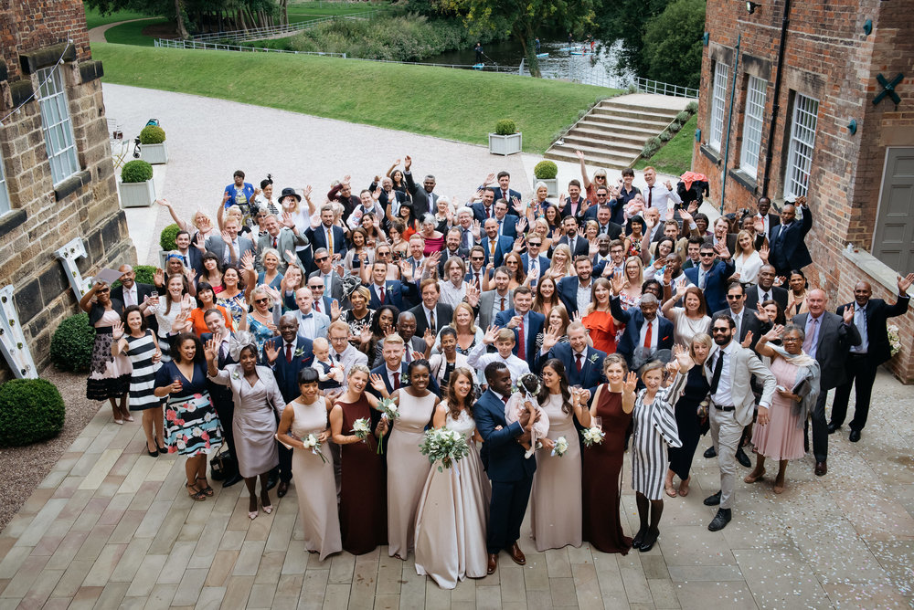 Group photograph at The West Mill Derby Wedding Photography