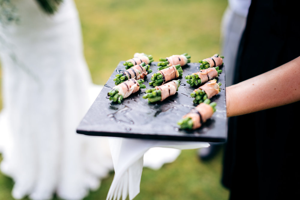 Canapés at Narborough Hall Gardens wedding
