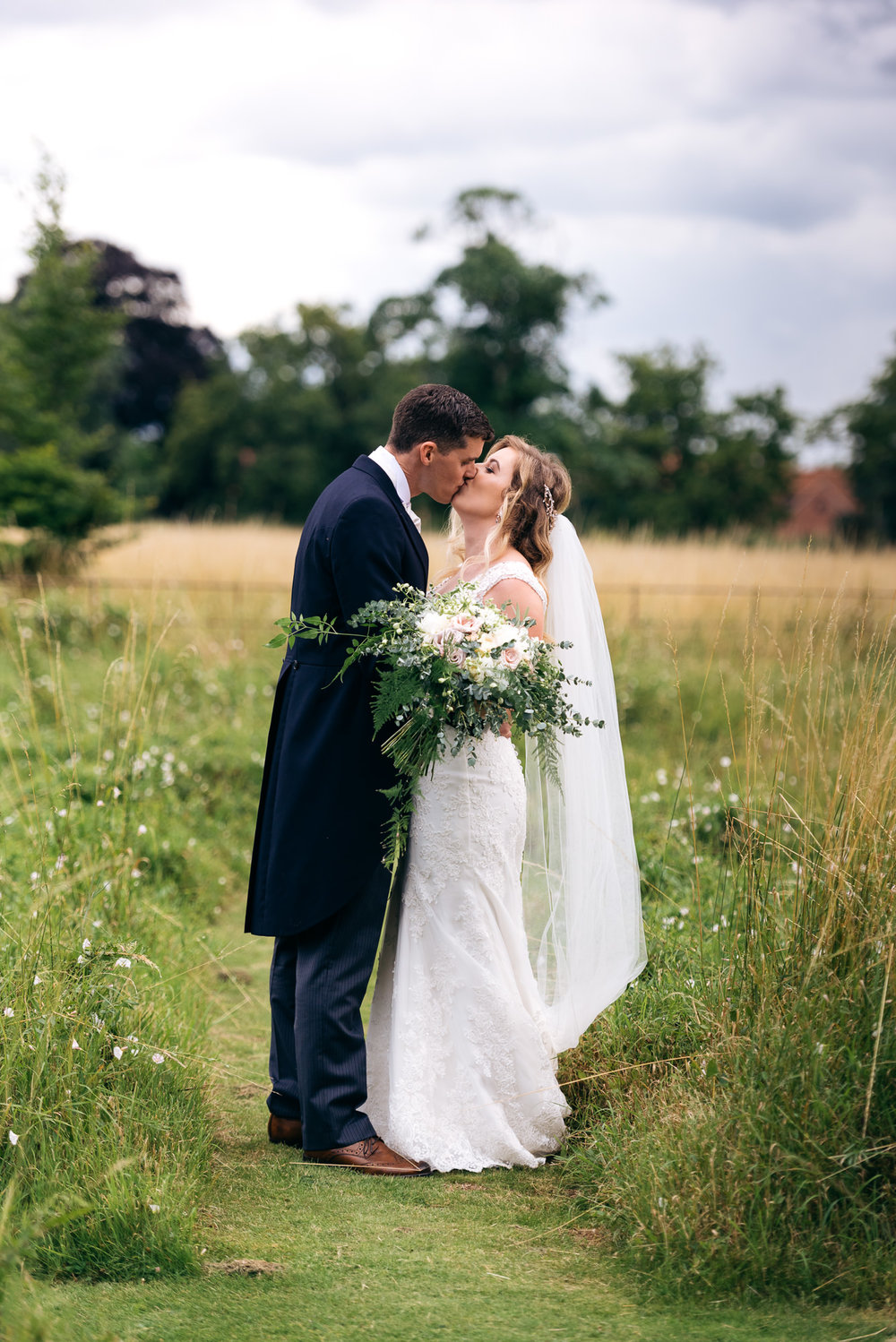 Bride and groom portrait at Narborough Hall Gardens Wedding
