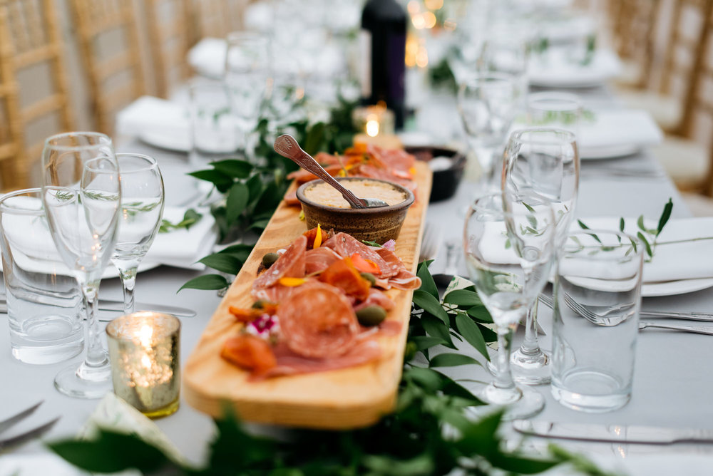 Antipasti wedding breakfast at Narborough Hall Gardens in Norfolk