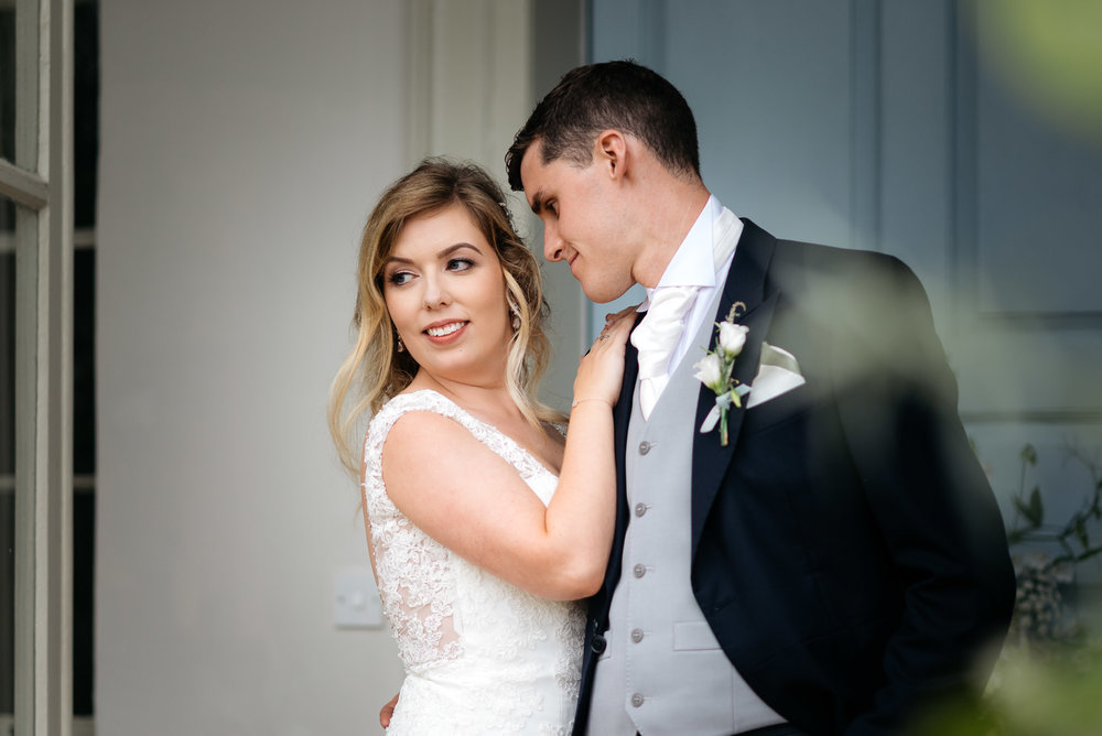 Bride and grrom portrait at Narborough Hall Wedding in Norfolk