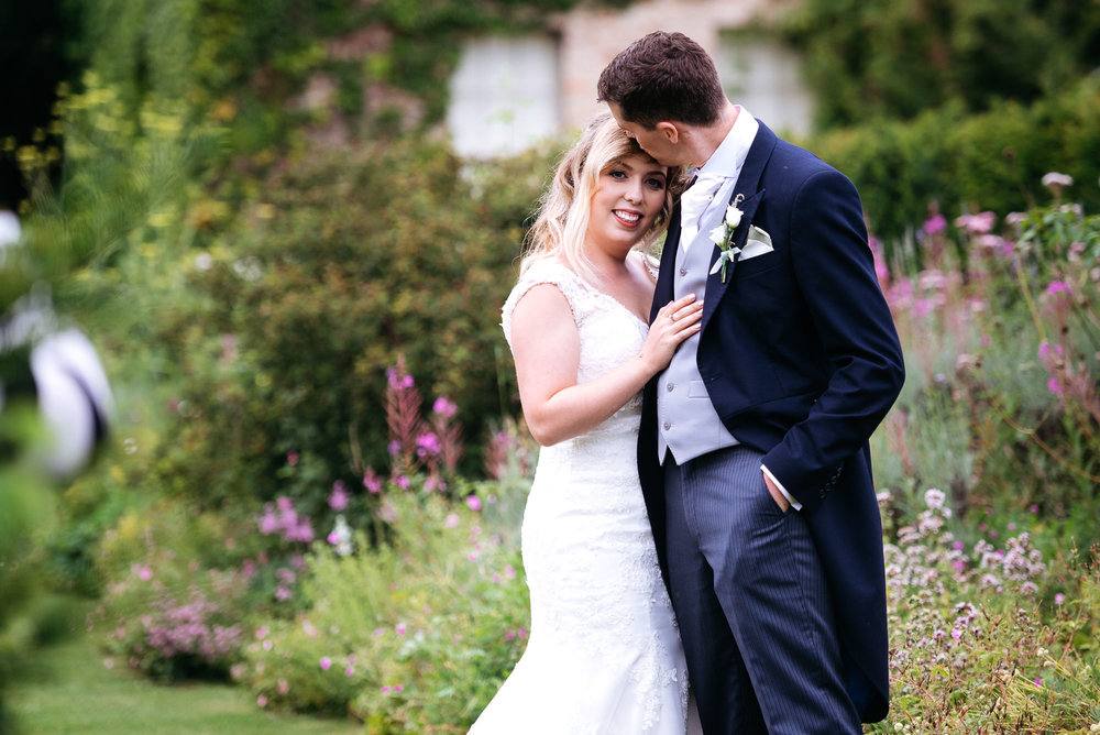 Bride and groom at Narborough Hall Gardens wedding