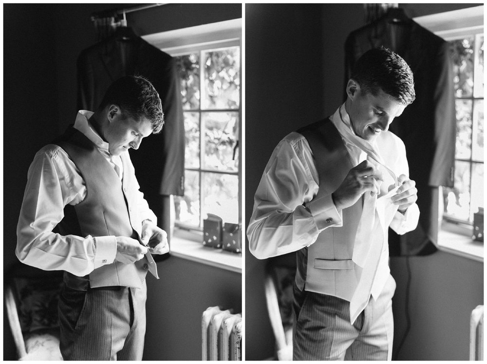 Groom prep at Narborough Hall Gardens Wedding
