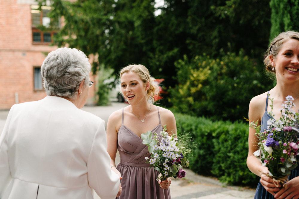guests arriving at the wedding at Risley Hall