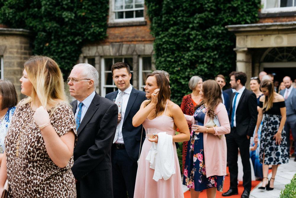Wedding guests at Risley Hall