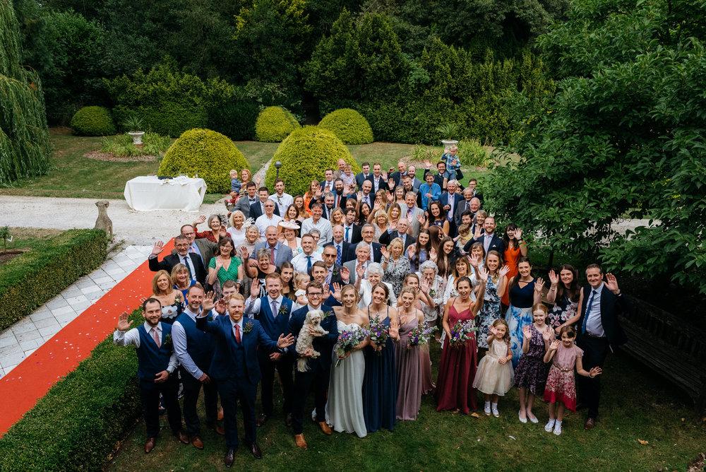 Group shot of at the guests at Risley Hall