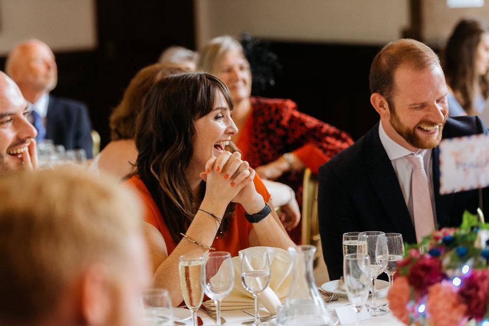 guests enjoying the grooms speech