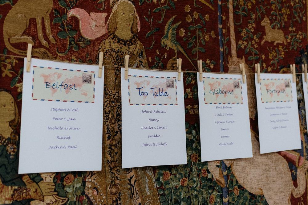 Table plan at Risley Hall