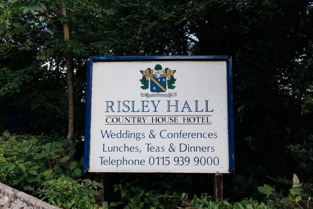 Risley Hall Welcome board
