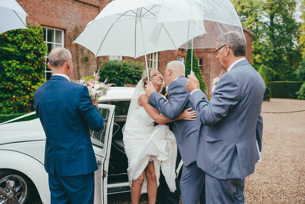 Keeping the bride dry under an umbrella