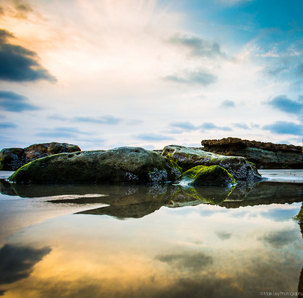 Tide Pool Reflection at Swami's Beach in Encinitas by Mark Ley