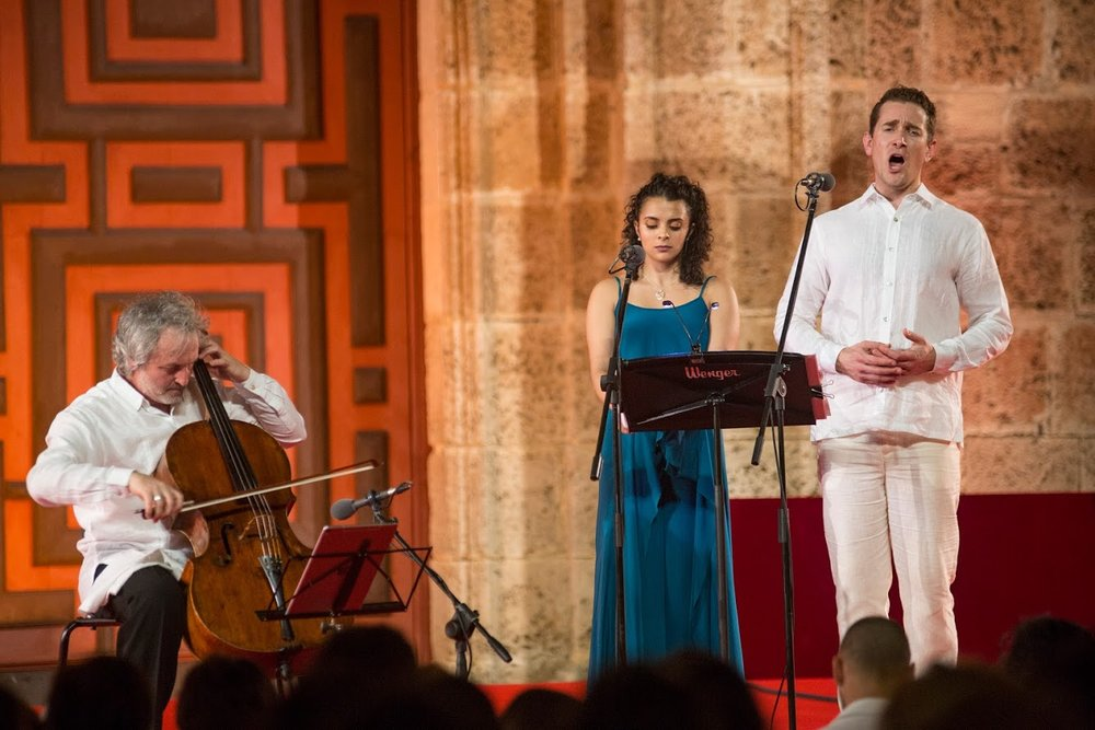 with Mario Brunello (cello) and Julieth Lozano (soprano) at Cartagena International Festival