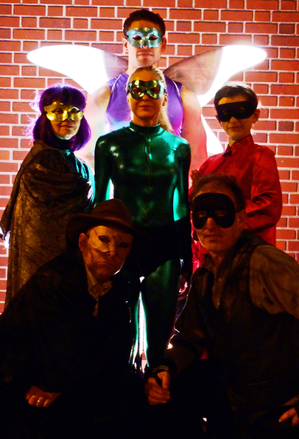 Cast of  Superheroes , from top to bottom, l to r:  Brave Fairy, Omni, Mantis, Confucius, Zygote, Dr. Intelligent